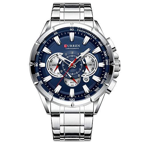 Curren Reloj de pulsera de los hombres tres subesferas fecha pantalla plata acero deporte cuarzo reloj azul caso 8363