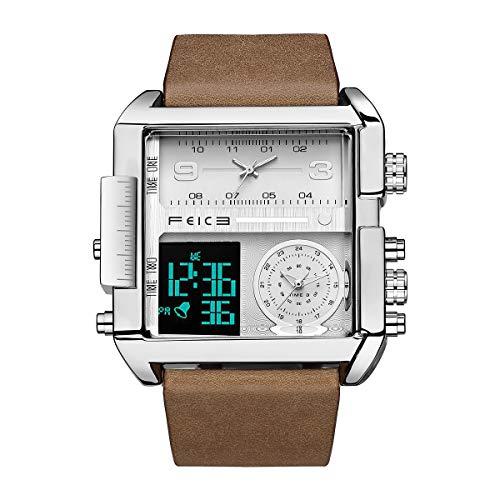 Reloj de Cuarzo Cuadrado FEICE Relojes de Cuarzo Japonés para Hombres Reloj de Pulsera Original para Hombres Reloj Deportivo Multifuncional FK030
