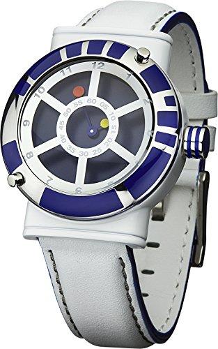 Star Wars STAR139 - Reloj de Cuarzo, para Hombre, con Correa de Cuero, Color Blanco y Azul