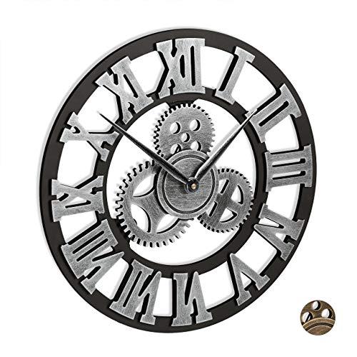 Relaxdays Reloj de Pared, Engranaje, Silencioso, Números Romanos, Vintage, 3D, Industrial, Ø 40 cm, 1 Ud, Plateado, DM, Hierro