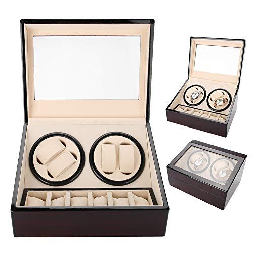 Salmue Caja Giratoria para Relojes, Caja de Enrollador de Reloj, para 4 Relojes Automáticos 6 Vitrina de Almacenamiento de Reloj de Pulsera, Estuche de Almacenamiento para Relojes de Exhibición(02#)