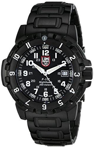 Luminox LU6402 F-117 - Reloj de Caballero de Cuarzo, Correa de Acero Inoxidable Color Negro