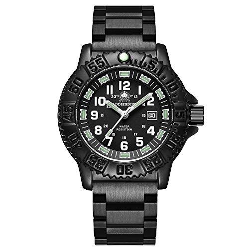 Reloj de Cuarzo para Hombre Casual Deportes al Aire Libre Tubo Luminoso Reloj Luminoso Reloj multifunción de Acero Inoxidable Reloj Militar Impermeable para Hombre