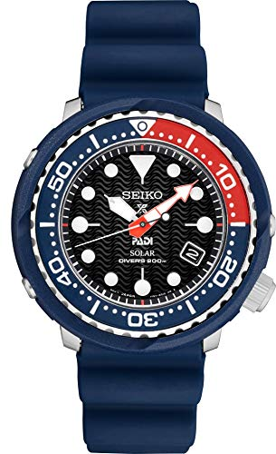 Seiko PADI SNE499 - Reloj Solar de Buceo con Correa de Silicona (200 m), Color Negro