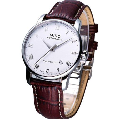 Mido Baroncelli II - Reloj analógico para hombre con correa de piel marrón, caja de acero de 38mm, automático, dial blanco M8600.4.26.8