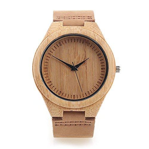 Reloj de Madera de Bambú para Hombre, Yowao Cuarzo Japonés y con la Correa de Cuero Genuino