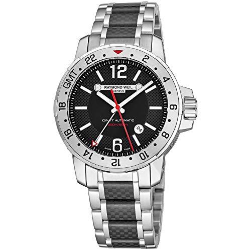 Raymond Weil Nabucco 3800-SCF-05207 - Reloj automático para hombre (acero inoxidable, esfera negra de 44 mm, con manecillas luminosas, fecha, cristal de zafiro, resistente al agua, 200 metros)