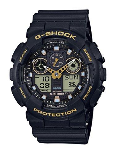 Casio G-SHOCK Reloj Analógico-Digital, 20 BAR, Negro/Amarillo, para Hombre, GA-100GBX-1A9ER