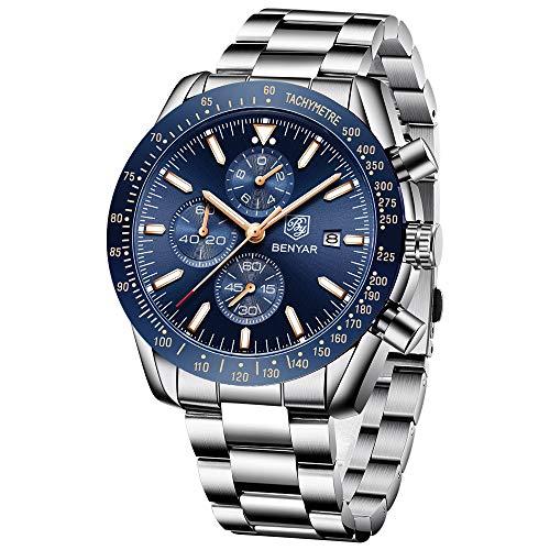 BY BENYAR Sport Casual Impermeable Movimiento de Cuarzo analógico Reloj de Pulsera de Acero Inoxidable con Banda para Hombre