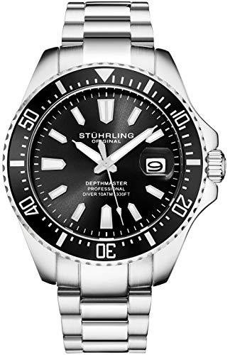 Stuhrling - Reloj de Buceo para Hombre, diseño de Buceo Deportivo con Corona de Rosca y Resistente al Agua hasta 100 m, Esfera analógica, Movimiento de Cuarzo (Negro)