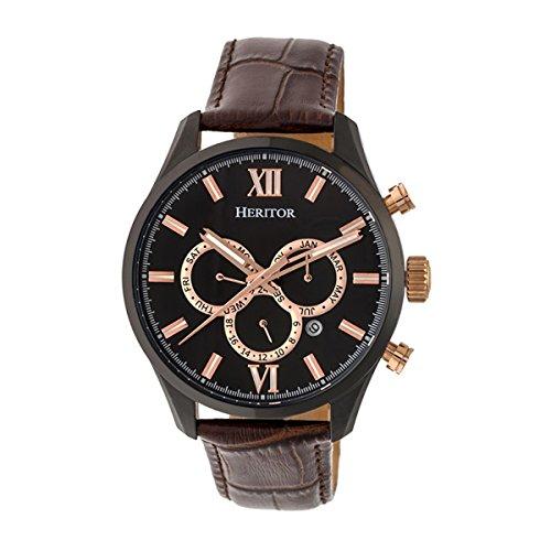 Heritor Reloj automático Benedict con correa de piel con día/fecha, negro/marrón oscuro, HERHR6806
