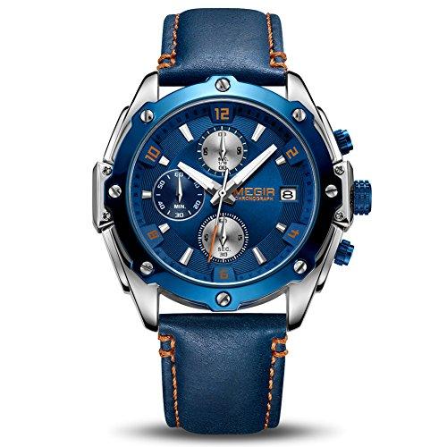 Relojes Hombres Cronógrafo Analógico Cuarzo Reloj Impermeable Deporte Reloj (Azul)