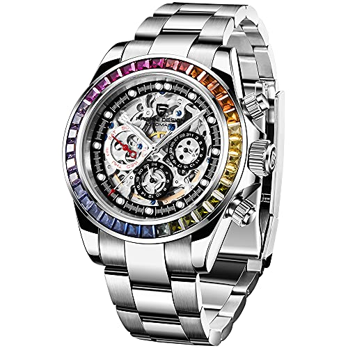 Pagani Design Reloj mecánico automático de Moda para Hombre Reloj de Pulsera Impermeable de Acero Inoxidable de Negocios Reloj de Lujo con arcoíris Relojes Deportivos Huecos para Hombre