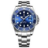 Minrux Blue Miyota Reloj de Pulsera para Hombre, automático, mecánico, de Acero Inoxidable y Cristal de Zafiro, Resistente al Agua, con Fecha, Luminoso, Azul