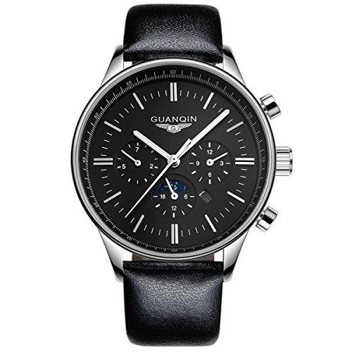 GUANQIN Reloj de pulsera analógico de cuarzo para hombre, resistente al agua, luminoso, fase lunar, diseño simple, color plateado y negro
