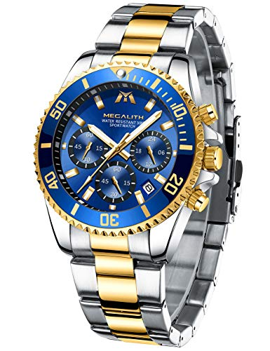 MEGALITH Reloj Hombre Oro Acero Inoxidable Relojes de Pulsera Grande Cronógrafo Relojes Impermeable Diseñador Reloj Analógico Hombre Esfera Azul Luminosa Fecha
