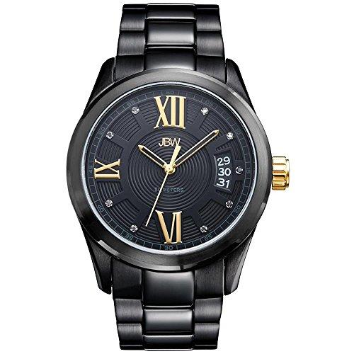 JBW Men's Bond Diamond 44mm Black IP Steel Bracelet & Case Quartz Watch J6311E