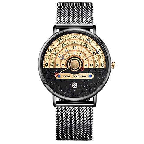 RORIOS Fashion Hombre Relojes Cuarzo Analogico Relojes Brillante Cielo Estrellado Dial Mesh Correa Moda Hombre Relojes