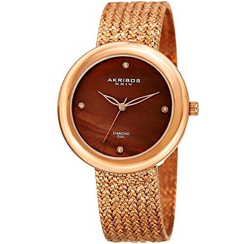 Akribos XXIV AK903 - Reloj de cuarzo para mujer, 4 marcadores de diamantes auténticos de acero inoxidable con textura prensada