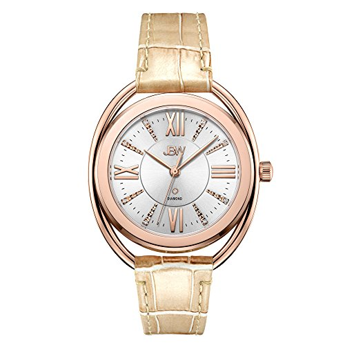 JBW Reloj de pulsera de lujo para mujer Gigi Diamond con pulsera de cuero