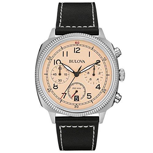 Bulova Militar - Reloj UHF para Hombre con Esfera analógica, dial Beige y Correa de Piel Negra