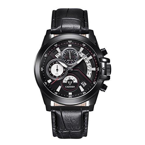 Reloj Cadisen c9016BlackL de cuarzo analógico con cronógrafo, deportivo, con correa de piel