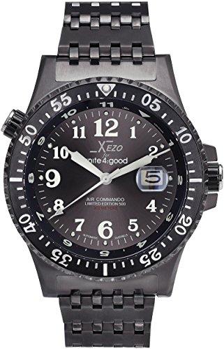 Xezo Air Commando Japonese-Automatic Diver's Pilots Gun-Metal Watch. Ruthenium Sunburst Dial. 2ª Zona horaria. 300 M WR