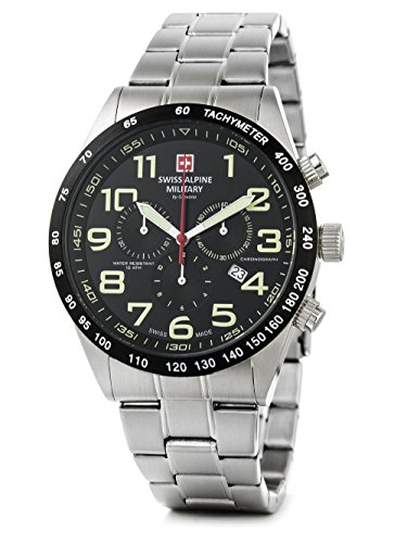 Swiss Alpine Military by Grovana Hombre Reloj Chrono 10 ATM Black 7047.9137sam