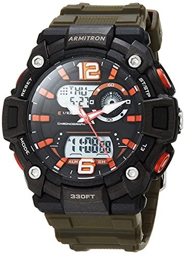 Armitron Reloj deportivo de cuarzo para hombre con correa de plástico, verde, 28 (Modelo: 20/5461DGN)