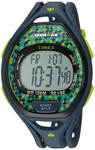 (Blue/Lime Check) - Timex Ironman Sleek 50 Full-Size Blue/Lime Watch, Resin Strap