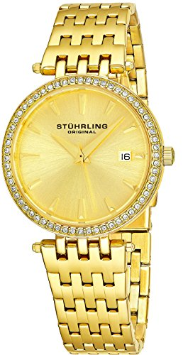 Stuhrling Original Garland Women's Quartz Watch with Gold Dial Analogue Display and Gold Stainless Steel Bracelet 579. 03