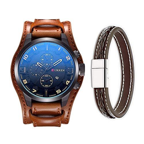 CURREN Reloj de pulsera de cuero clásico militar para hombre, calendario, visualización de fecha (amarillo)