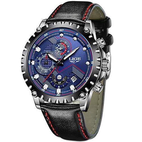 LIGE Relojes Hombre Lujo Azul Negocio Cuarzo Relojes Moda Impermeable Negro Cuero Relojes Militar Deportes Cronógrafo Relojes