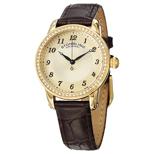 Stuhrling Original Symphony Women's Quartz Watch with Gold Dial Analogue Display and Brown Leather Strap 651. 02
