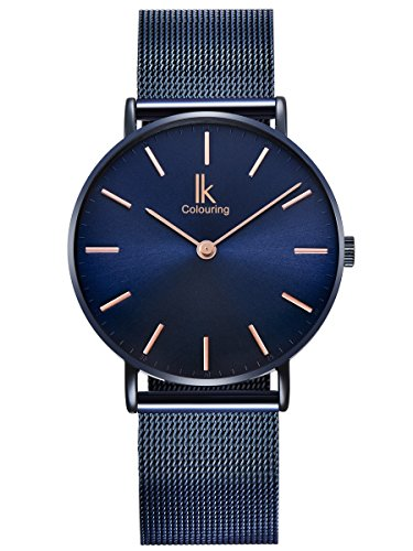 Alienwork Navy Blue Reloj Unisex Relojes Hombre Mujer Acero Inoxidable Banda de Malla Metálica Azul Analógicos Cuarzo Impermeable Ultra-Delgada Slim