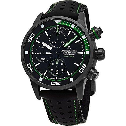Maurice Lacroix Pontos S Extreme Diver cronógrafo relojes para hombre - 43 mm esfera negra correa de cuero negro suizo reloj de buceo automático para hombres PT6028-ALB01-332-1