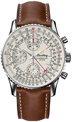 Breitling Montbrillant - Reloj para hombre, esfera plateada, caja de acero, correa de piel marrón