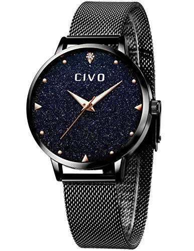 CIVO Relojes Mujer Impermeables Acero Inoxidable Relojes de Pulsera Mujer Negro Cielo Estrellado Vestido Elegante Designer Minimalista Delgado Reloj Analógico para Mujer Dama Girls