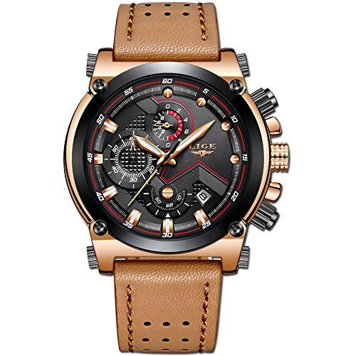 Relojes Hombre Relojes de Pulsera Marea Cronometro Impermeable Fecha Calendario Analogicos Cuarzo Relojes de Hombre Deportivo Casual Clásicos Multifunción con Correa de Cuero