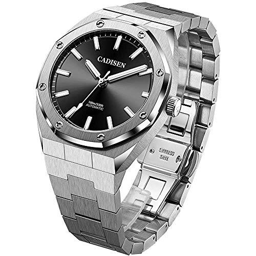 Cadisen Mens 42mm Octagon Relojes automáticos para hombres 100M impermeable completo de acero inoxidable de una sola pieza reloj deportivo
