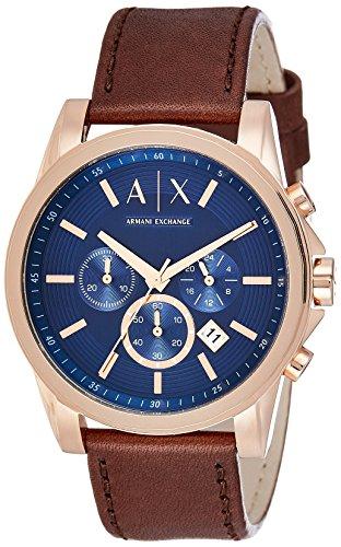 Armani Exchange Reloj Cronógrafo para Hombre de Cuarzo con Correa en Cuero AX2508
