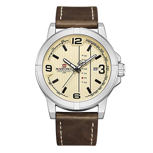 NAVIFORCE Fecha Cuarzo Hombres Casual Militar Deportes Japón Movimiento de cuarzo Cuero auténtico Relojes de pulsera (Plata)