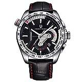 Relojes De Pulsera,Ver Reloj De Cuarzo Reloj De Cronógrafo Multifunción Reloj Deportivo para Hombres Cinturón De Litchi