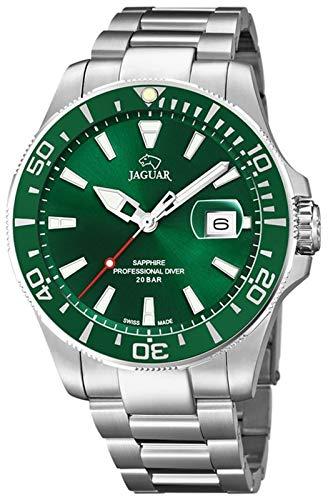 JAGUAR Reloj Modelo J860/B de la colección Executive, Caja de 43,5 mm Verde con Correa de Acero para Caballero