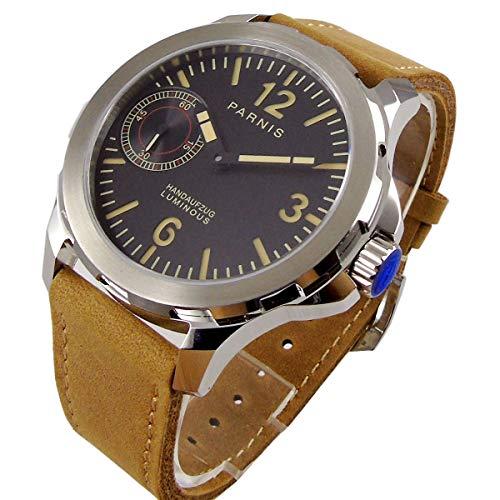 Parnis 6497 - Reloj de Pulsera para Hombre (44 mm, Esfera Negra, Esfera de Acero Inoxidable, Cristal de Zafiro)