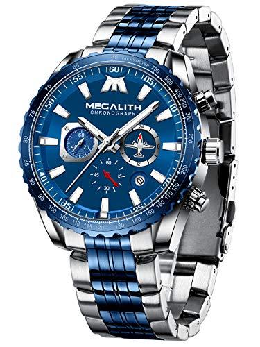 MEGALITH Relojes Hombre Cronografo Elegante Reloj Acero Inoxidable Azul Relojes de Pulsera Esfera Grande Analogico Impermeable Luminoso Fecha