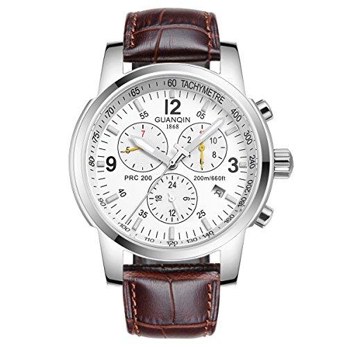 GUANQIN Reloj de pulsera analógico para hombre, marca popular automática, automático, automático, automático, acero inoxidable y cuero, para negocios, fecha, impermeable, color plateado y blanco