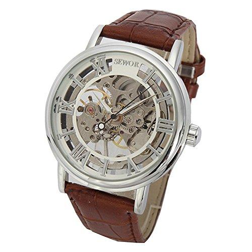 SEWOR - Reloj de Pulsera mecánico Transparente esqueletizado para Hombre, con Correa Estilo Vintage (Blanco Plateado)