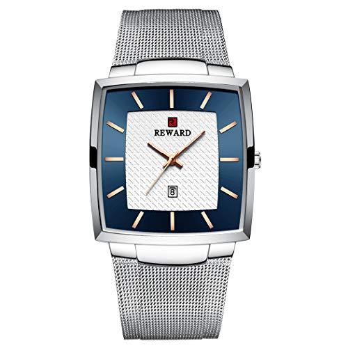 Allskid Hombres Cuadrado Relojes Clásico Minimalista Marcar Acero Inoxidable Malla Correa Cuarzo Business Relojes de Pulsera (48 * 37mm, B-Blanco)