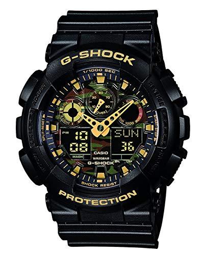 Casio G-SHOCK Reloj Analógico-Digital, 20 BAR, Negro/Amarillo, para Hombre, GA-100CF-1A9ER